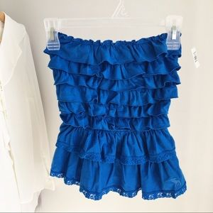 Abercrombie and Fitch Ruffle Tube Top - Blue